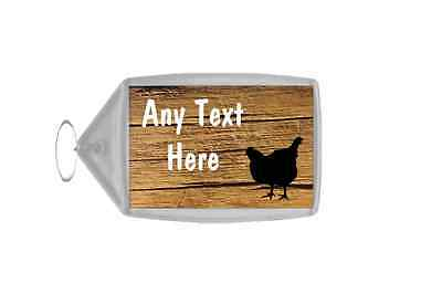 Cracked Wood Chicken Hen Personalised Keyring