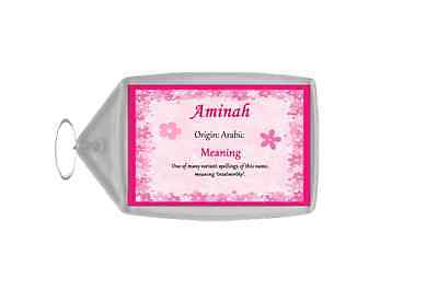 Aminah Personalised Name Meaning Keyring