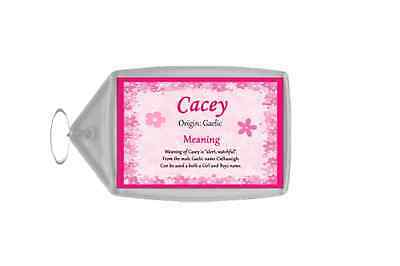 Cacey Personalised Name Meaning Keyring