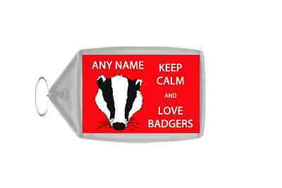 Keep Calm And Love Badgers Personalised Large Keyring