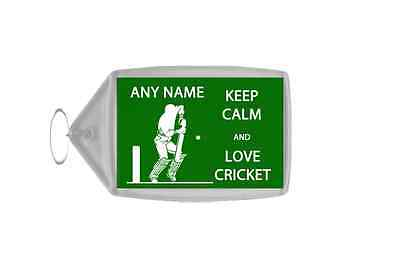 Keep Calm And Love Cricket Personalised Large Keyring