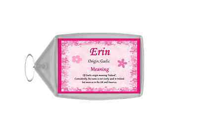 Erin Personalised Name Meaning Keyring