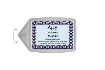 Ajay Personalised Name Meaning Keyring