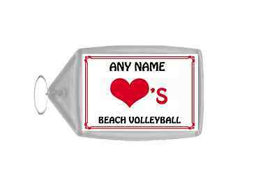 Love Heart Beach Volleyball Personalised Keyring