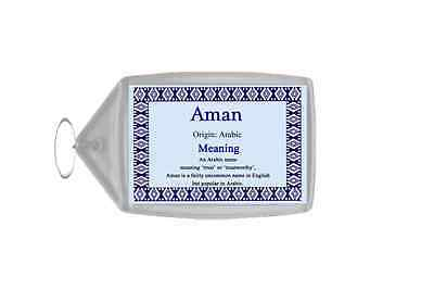 Aman Personalised Name Meaning Keyring