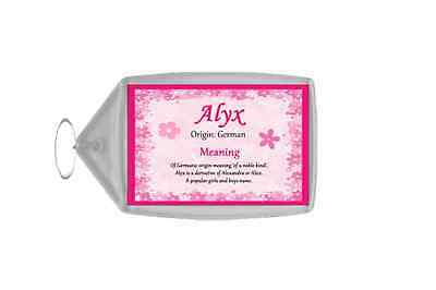 Alyx Personalised Name Meaning Keyring