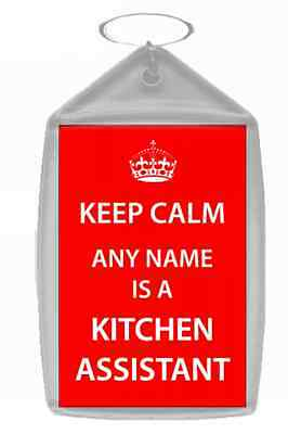 Kitchen Assistant Personalised Keep Calm Keyring