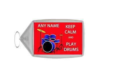 Keep Calm And Play Drums Personalised Large Keyring