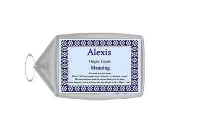 Alexis Personalised Name Meaning Keyring