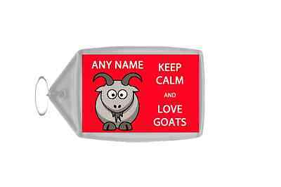 Keep Calm And Love Goats Personalised Large Keyring