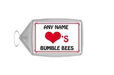 Love Heart Bumble Bees Personalised Keyring