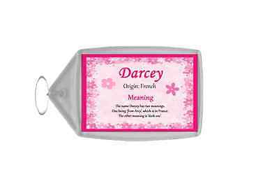 Darcey Personalised Name Meaning Keyring