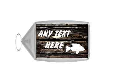 Dark Wood Fish Personalised Keyring
