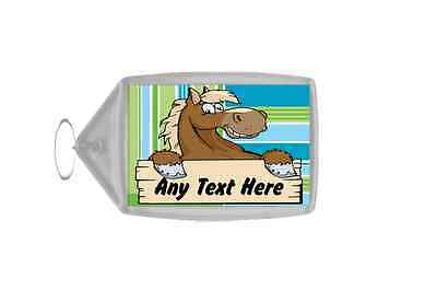 Cartoon Horse Stripy Personalised Keyring