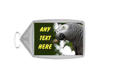 African Grey Parrot Personalised Keyring