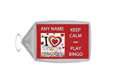 Keep Calm And Love Play Bingo Personalised Large Keyring