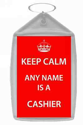 Cashier Personalised Keep Calm Keyring