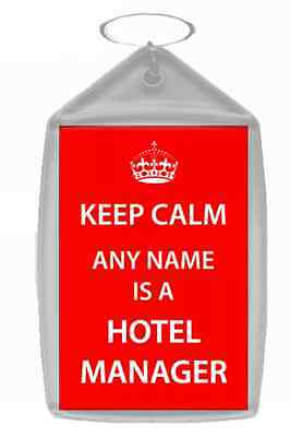 Hotel Manager Personalised Keep Calm Keyring