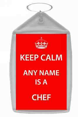 Chef Personalised Keep Calm Keyring