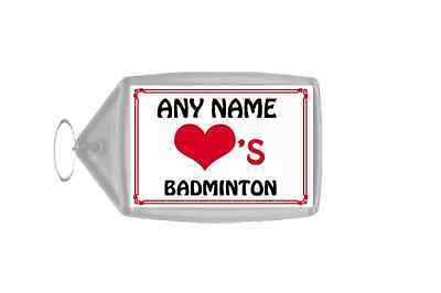 Love Heart Badminton Personalised Keyring