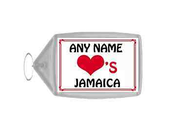 Love Heart Jamaica Personalised Keyring