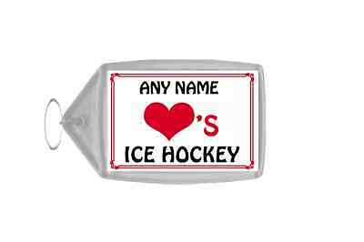 Love Heart Ice Hockey Personalised Keyring
