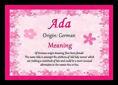 Ada Personalised Name Meaning Placemat