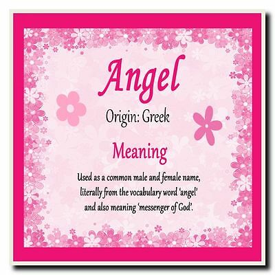 Angel Personalised Name Meaning Coaster