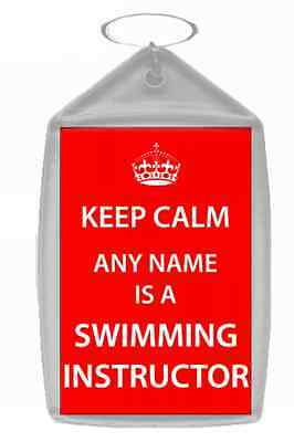 Swimming Instructor Personalised Keep Calm Keyring