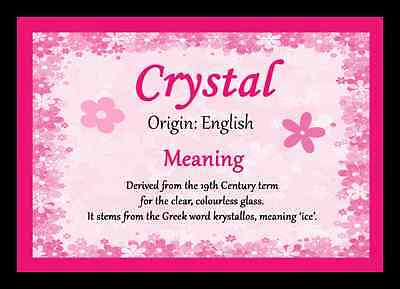 Crystal Personalised Name Meaning Placemat