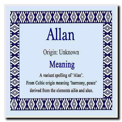 Allan Personalised Name Meaning Coaster