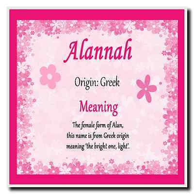 Alannah Personalised Name Meaning Coaster