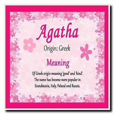 Agatha Personalised Name Meaning Coaster