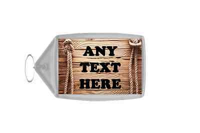 Rope & Wooden Effect Effect Personalised Keyring