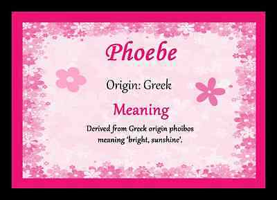 Phoebe Personalised Name Meaning Placemat