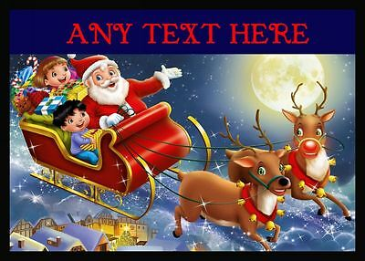 Santa In His Sleigh Christmas Personalised Dinner Table Placemat