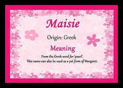 Maisie Personalised Name Meaning Placemat