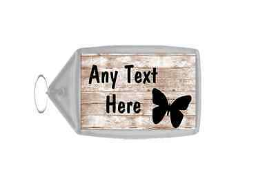 Shabby Wooden Effect Butterfly Personalised Keyring