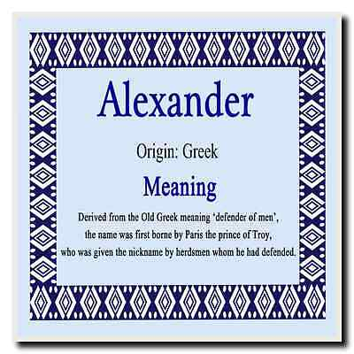 Alexander Personalised Name Meaning Coaster