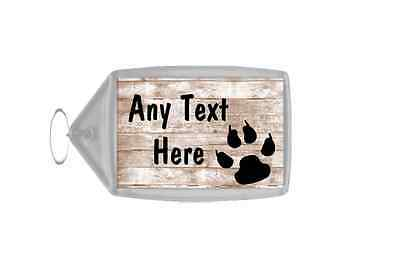 Paw Print Shabby Wooden Effect Personalised Keyring