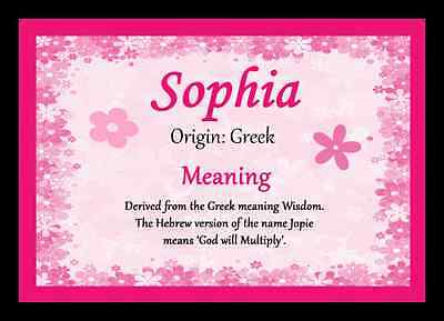 Sophia Personalised Name Meaning Placemat