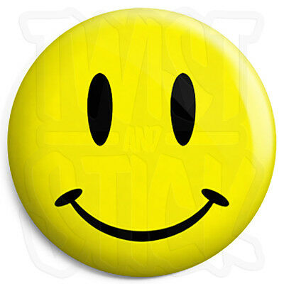 Acid House Rave Smiley Face - 25mm Button Badge with Fridge Magnet Option