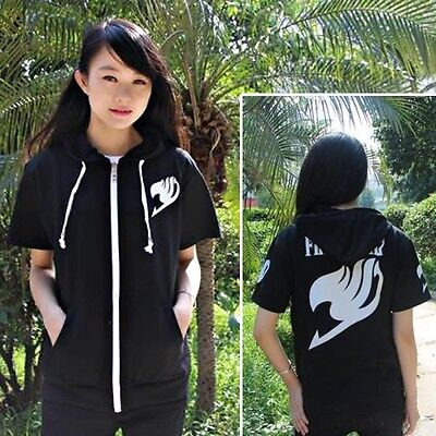 Anime Fairy Tail Clothing Black Short Sleeve Zipper Hoodie T-shirt Tee