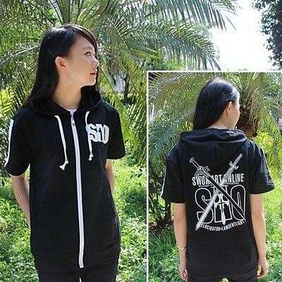 Anime Sword Art Online Unisex Black Zipper Hoodie T-shirt Short Sleeve Tee