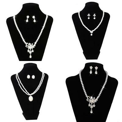 Wedding Bridal Prom Jewelry Crystal Rhinestone Pearl Necklace Earring Sets
