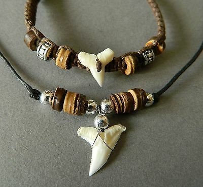 SHARK TOOTH NECKLACE BRACELET SET BROWN WOODEN BEAD 1.5cm sharks teeth
