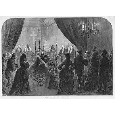 The Late French Emperor Napoleon III Lying in State - Antique Print 1873
