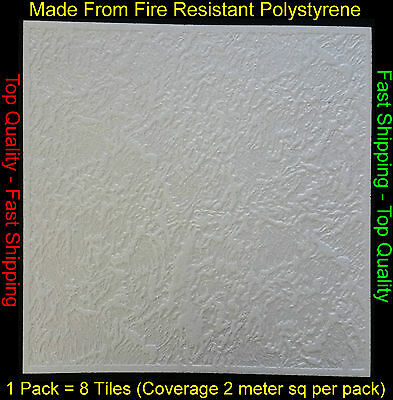 2M² Polystyrene Ceiling Tile Flame Retardant Fire Resistant Luxembourg 1 Pack