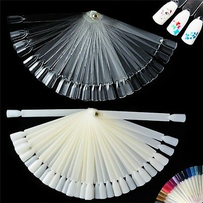 Nail Art Display Fan Polish Tips Clear False Pop Colour Sticks Practice Kit X 50