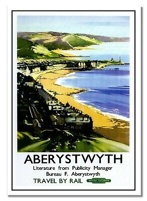 Aberystwyth (F) Travel By Rail Old Photo British Railways Retro Vintage Poster